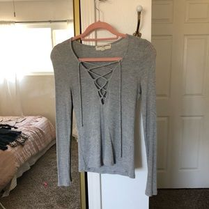 Grey ribbed lace up tee